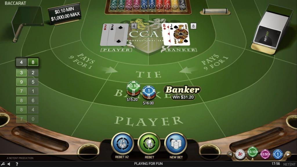 Baccarat Proのプレイ画面