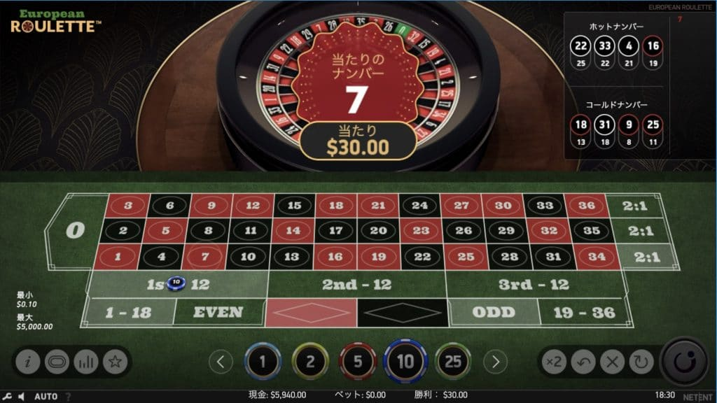European Rouletteのプレイ画面